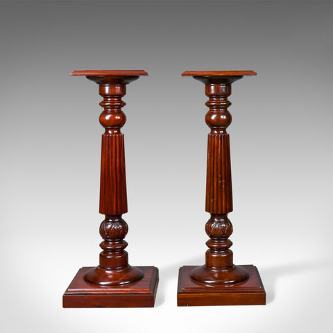 A Pair of Vintage Torcheres, Victorian Taste, Mahogany Plant Stand Late C20th - London Fine Antiques