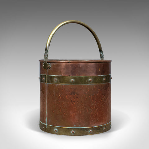 Antique Copper Coal Bin, English, Victorian, Fireside Scuttle Bucket, Circa 1890 - London Fine Antiques