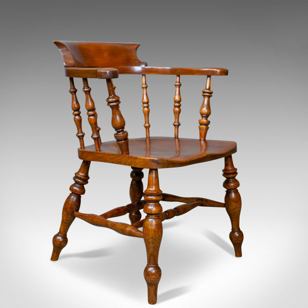 Antique Elbow Chair, Victorian, Elm, Bow-Back, Smokers, Captains, Desk c.1880 - London Fine Antiques