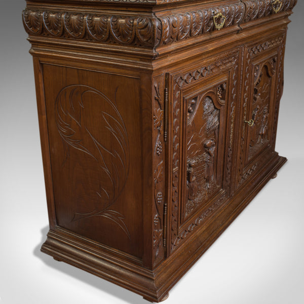 Antique, Breton Cabinet, Carved French Sideboard, Oak, Late 19th Century C.1880