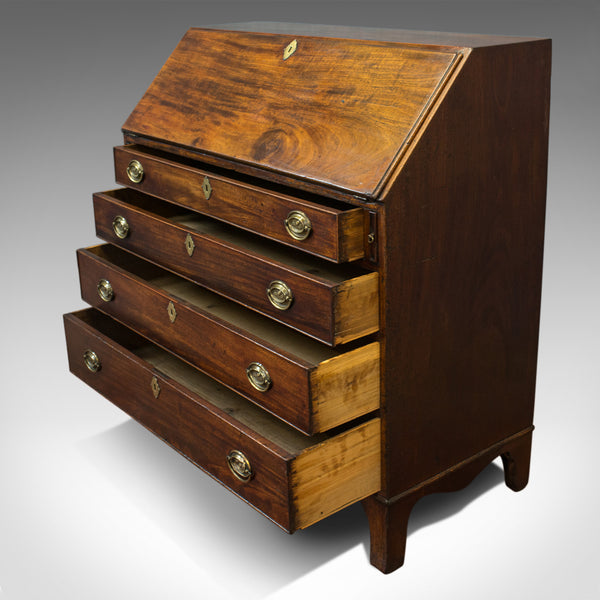 Antique Bureau, English, Georgian, Desk, Mahogany, Late 18th Century, Circa 1790 - London Fine Antiques