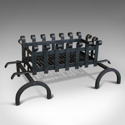 Vintage, Fire Basket, Andirons, English, Iron, 20th Century - London Fine Antiques