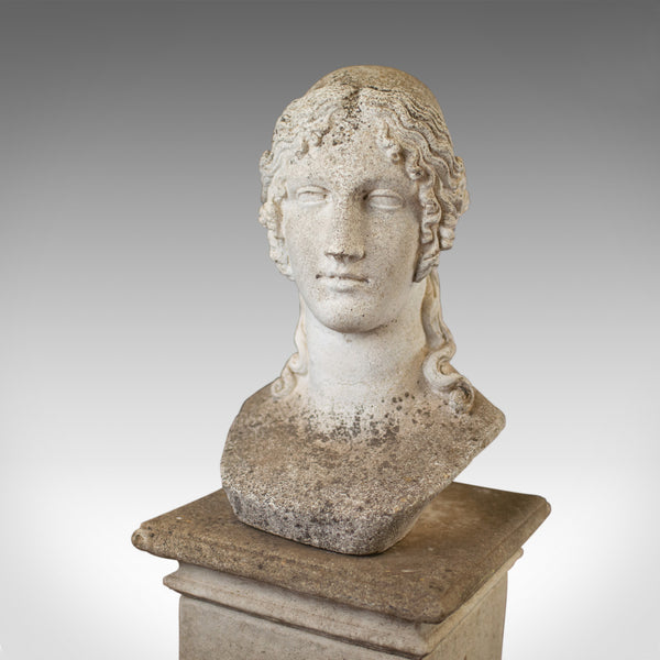 Antique Bust on Pedestal, Garden, Italian, Classical, Female Pose, Circa 1910 - London Fine Antiques