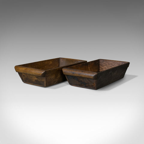Antique Pair of Victorian Merchant's Trays, English, Oak, Late C19th, Circa 1900