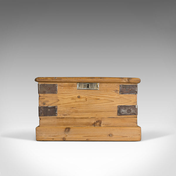 Small Antique Carriage Chest, Victorian, Metal Bound, Pine Trunk, Circa 1870