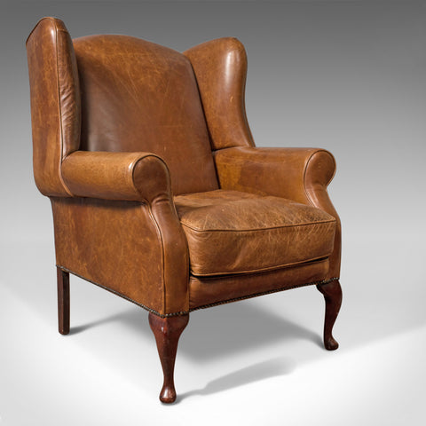 Vintage Leather Armchair, English, Wingback Chair, Late 20th Century - London Fine Antiques