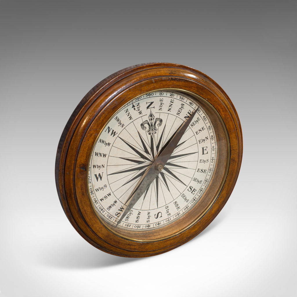 Antique Desk Compass, English, Oak, Maritime, Ship, Regency, Circa 1830 - London Fine Antiques