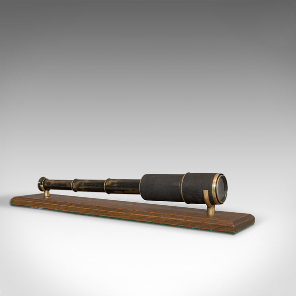 Vintage Stalking Telescope, English, Leather, Brass, Pocket, 3 Draw, Early C20th - London Fine Antiques