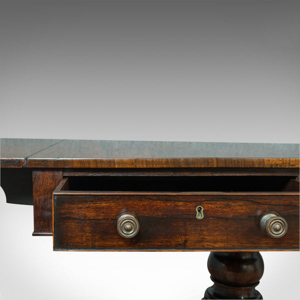 Antique Sofa Table, English, Rosewood, Drop Leaf, Side, Occasional, Regency