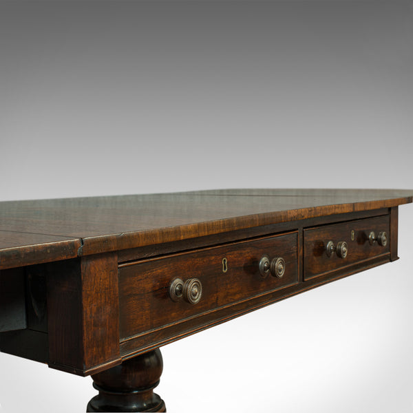 Antique Sofa Table, English, Rosewood, Drop Leaf, Side, Occasional, Regency - London Fine Antiques
