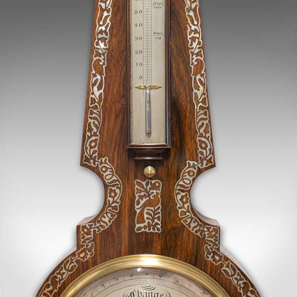 Antique Banjo Barometer, English, Rosewood, Mother of Pearl, Victorian, C.1900 - London Fine Antiques