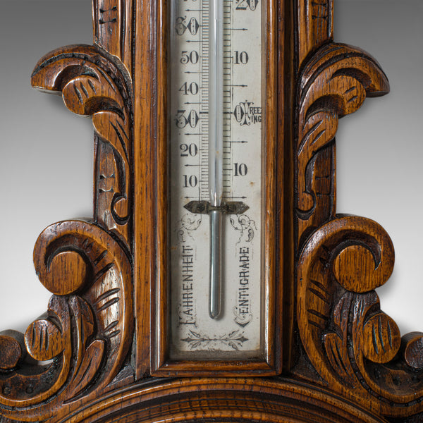 Antique Aneroid Barometer, English, Winstanley of Wigan, Oak, Banjo, Temperature - London Fine Antiques