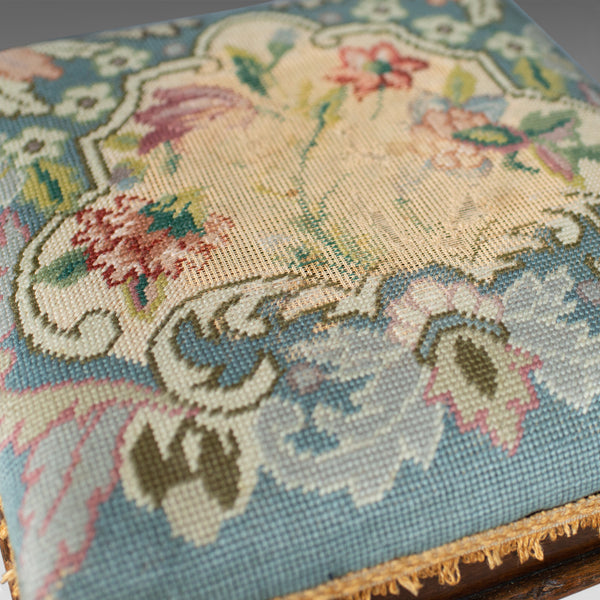 Square Antique Footstool, English, Victorian, Needlepoint, Carriage, C19th c1890 - London Fine Antiques
