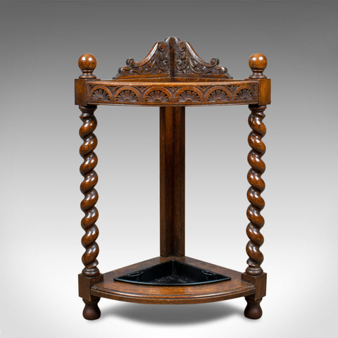 Antique Corner Stick Stand, Edwardian, Umbrella, Oak, Early C20th, Circa 1910 - London Fine Antiques
