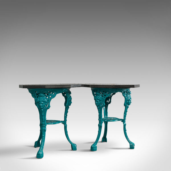 Vintage, Pair, Granite, Cafe, Table, English, Cast Iron, Garden, Dominic Hurley - London Fine Antiques