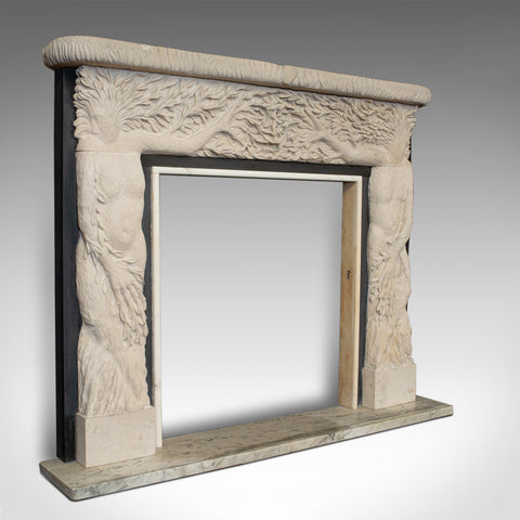 Forest Decorative Fire Surround, Mantelpiece, English, Portland Stone Fireplace - London Fine Antiques