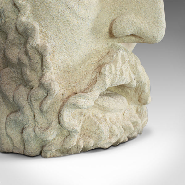 Vintage Sculpture, Poseidon, Dominic Hurley, English, Bath Stone, Greek God