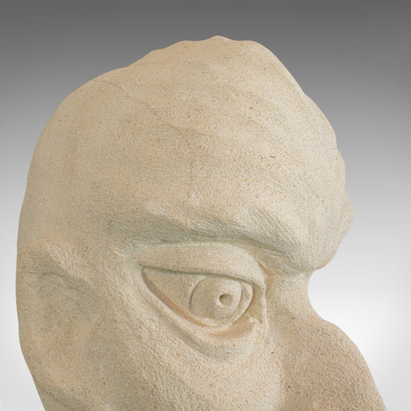 'Marvin' Sculptural Artwork, Dominic Hurley, English, Bath Stone, Bust - London Fine Antiques