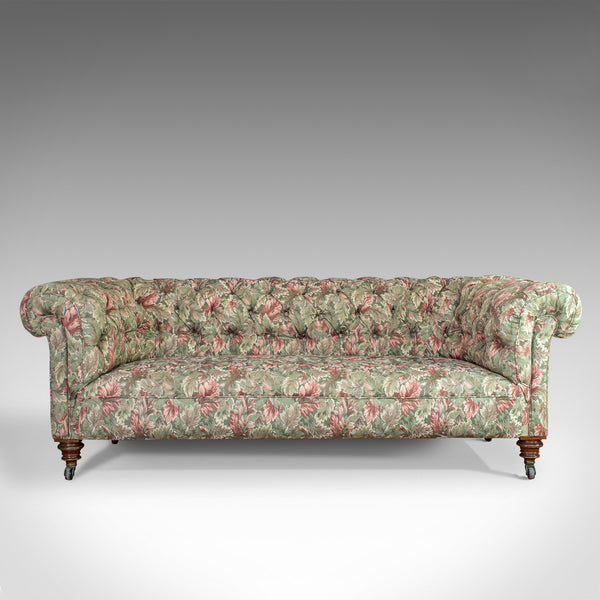Antique Chesterfield Settee, English, Textile, Upholstered, Sofa, Seating 2 to 3