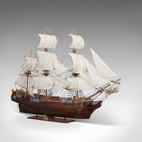 Large Vintage Model, The Bounty, English, Mahogany, Collectible, Ship, Display - London Fine Antiques