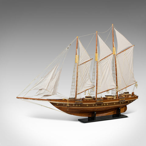 Large Vintage Schooner, English, Mahogany, Collectible, Decorative, Yacht - London Fine Antiques