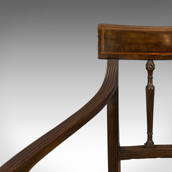 Antique Elbow chair, Mahogany, Armchair, Sheraton Overtones, Regency Circa 1820 - London Fine Antiques