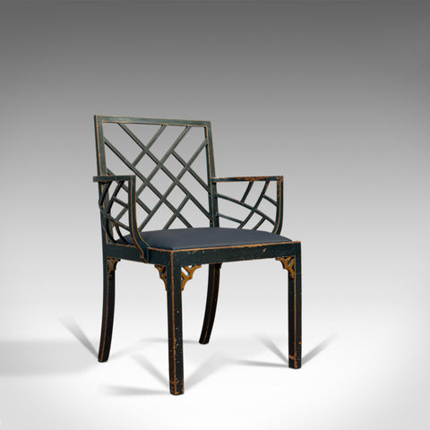 Antique Bird Cage Chair, English, Painted, Leather, Elbow, Regency, Circa 1820