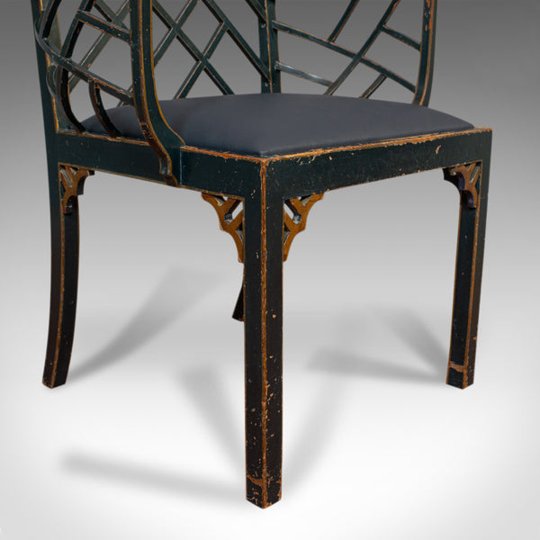 Antique Birdcage Elbow Chair, English, Painted, Leather, Regency, Circa 1820 - London Fine Antiques