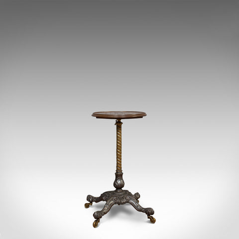 Antique Adjustable Wine Table, English, Mahogany, Cast Iron, Plant, Jardiniere