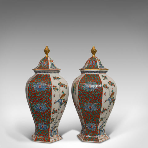 Pair of Vintage Hexagonal Spice Jars, Oriental, Ceramic, Baluster, Urn, Avian - London Fine Antiques