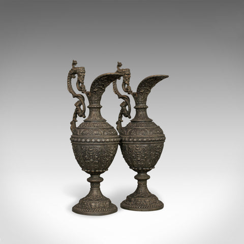 Pair Of, Antique Ewers, Classical Taste, French, Bronze Spelter, Jug, Pitcher - London Fine Antiques