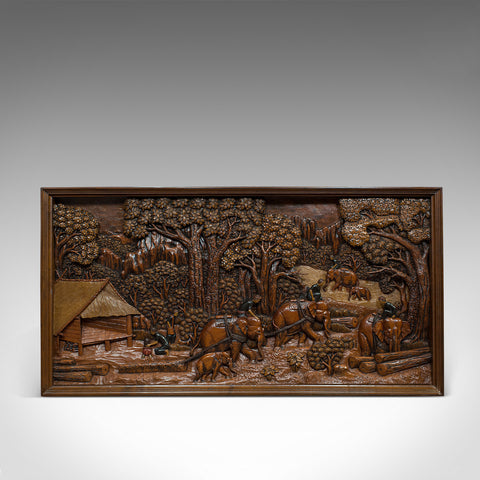 Vintage Carved Wall Panel, Ceylon, Ironwood, Decorative, Frieze, Jungle, C20th - London Fine Antiques