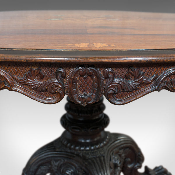 Inlaid Antique Breakfast Table, English, Rosewood, Centre, Game, Victorian - London Fine Antiques