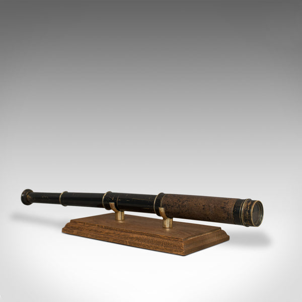 Antique Pocket Telescope, English, Brass, Leather, 3 Draw, Refractor, Victorian - London Fine Antiques