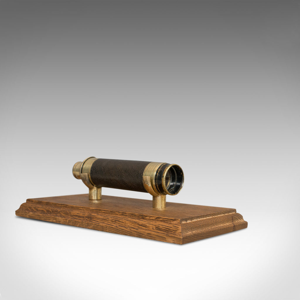 Antique Pocket Telescope, English, Brass, Leather, 4 Draw, Hartley of Todmorden