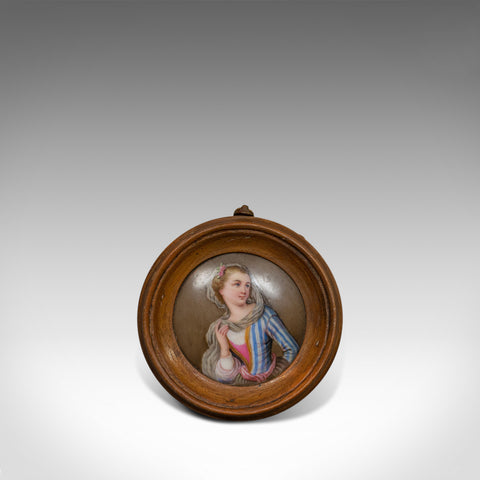 Antique Porcelain Plaque, English, Walnut, Ceramic, Decorative, Portrait c.1890 - London Fine Antiques