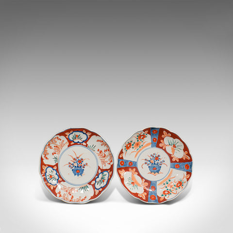 Pair Of, Vintage Imari Dishes, Oriental, Painted, Ceramic, Decorative, Saucers - London Fine Antiques