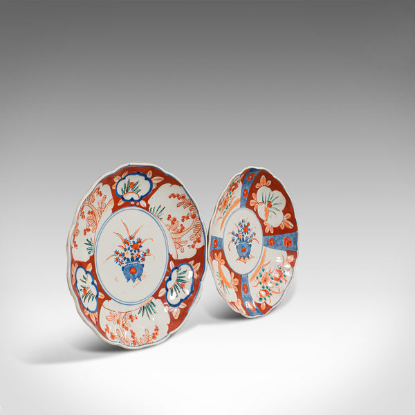 Pair Of, Vintage Imari Dishes, Oriental, Painted, Ceramic, Decorative, Saucers