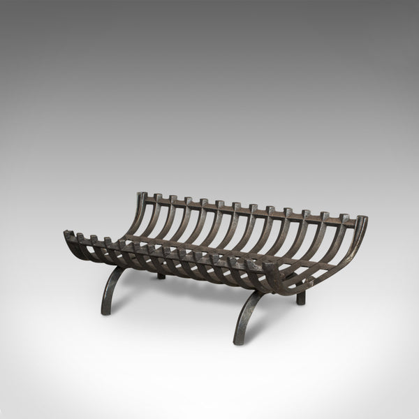 Antique Fire Grate, English, Cast Iron, Basket, Fireplace, Graphite, Victorian