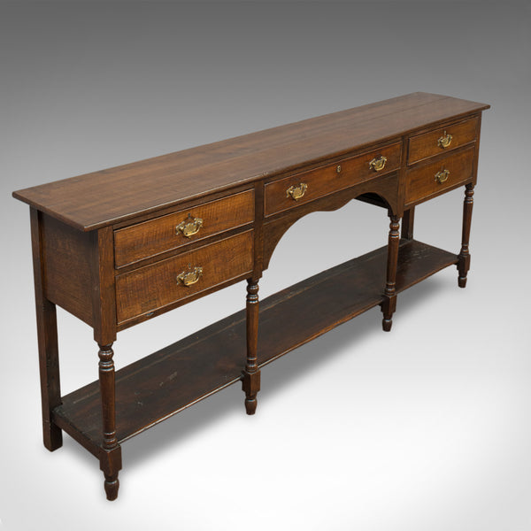 Antique Dresser Base, English, Oak, Side Cabinet, Pot Shelf, Georgian, C.1780 - London Fine Antiques