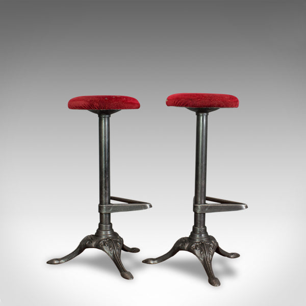 Vintage, Pair Of, Bar Stools, English, Cast Alloy, Victorian Taste, 20th Century - London Fine Antiques