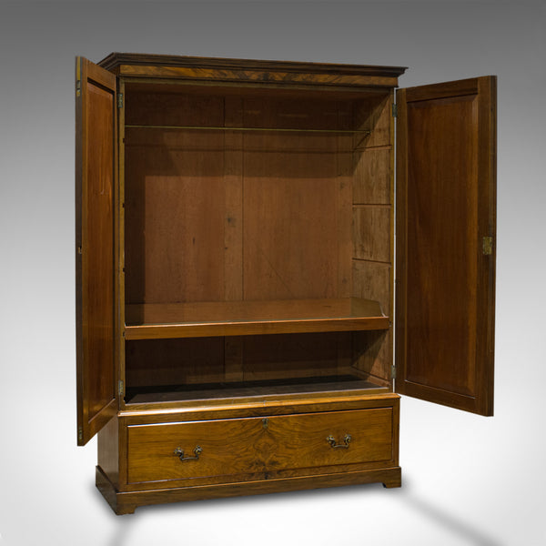 Antique Linen Press, French, Walnut, Wardrobe, Hanging Rail, Late 19th Century - London Fine Antiques