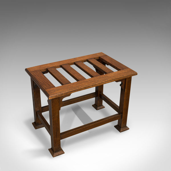 Antique Luggage Rack, Wadham and Sons, English, Oak, Suitcase, Trunk, Stand - London Fine Antiques