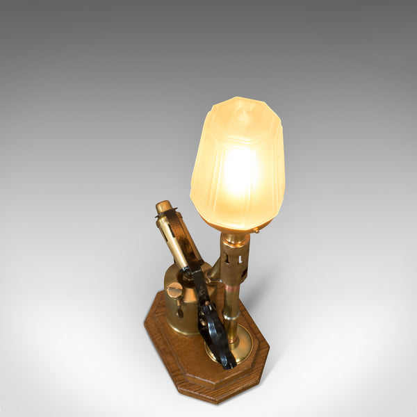Vintage Decorative Lamp, English, Brass, Blow Torch, Light, Shade, Oak Base - London Fine Antiques