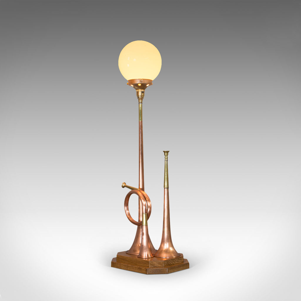 Vintage Hunting Horn Lamp, English, Brass, Oak, Decorative, Light, Shade - London Fine Antiques