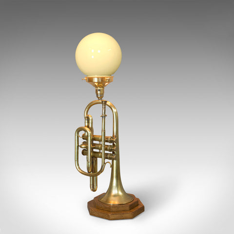 Vintage Trumpet Lamp, English, Oak, Brass, Musical Instrument, Light, Pendant