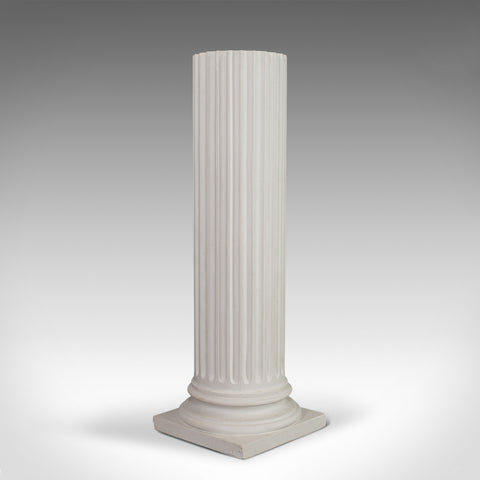 Vintage Fluted Column Base, English, Architectural, Plaster, Pedestal, Classical