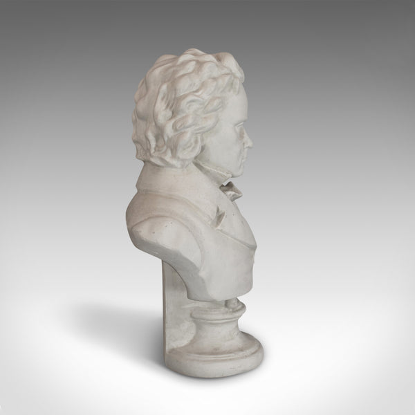 Vintage Study, Beethoven, English, Plaster, Portrait, Bust, Musician, C.20th - London Fine Antiques