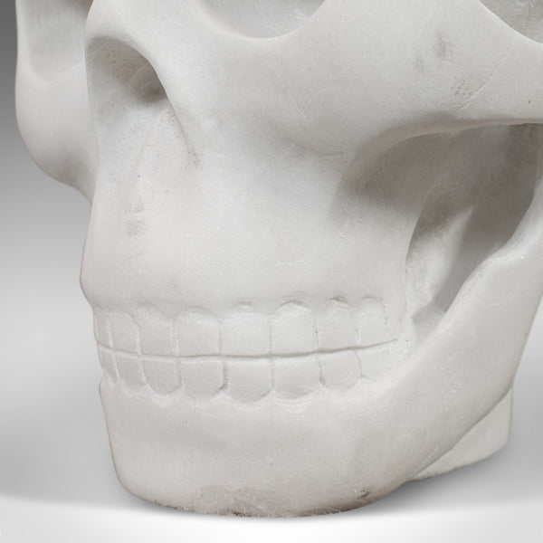 Vintage Marble Skull, English, Bianco Assoluto, Paperweight, Ornament, C.20th - London Fine Antiques