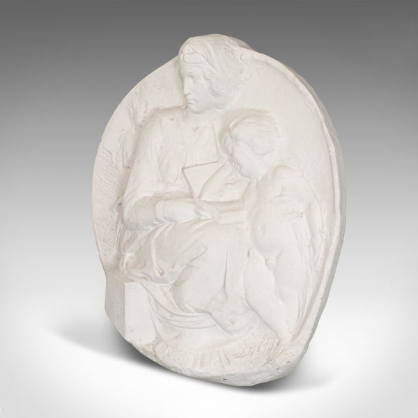 Plaster Cast Bas-Relief Portrait Pitti Tondo, Virgin and Child by Michelangelo - London Fine Antiques